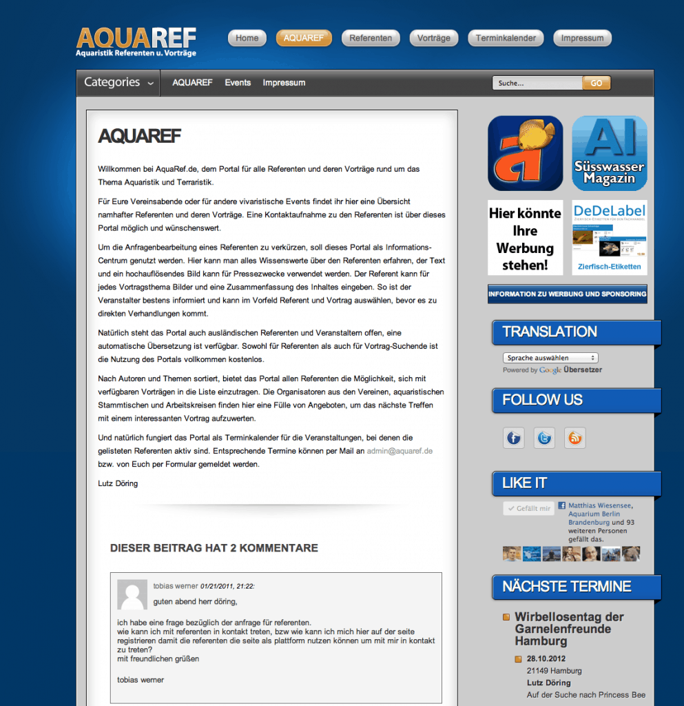 AquaRef.de - das Portal für alle Referenten und deren Vorträge rund um das Thema Aquaristik und Terraristik 1