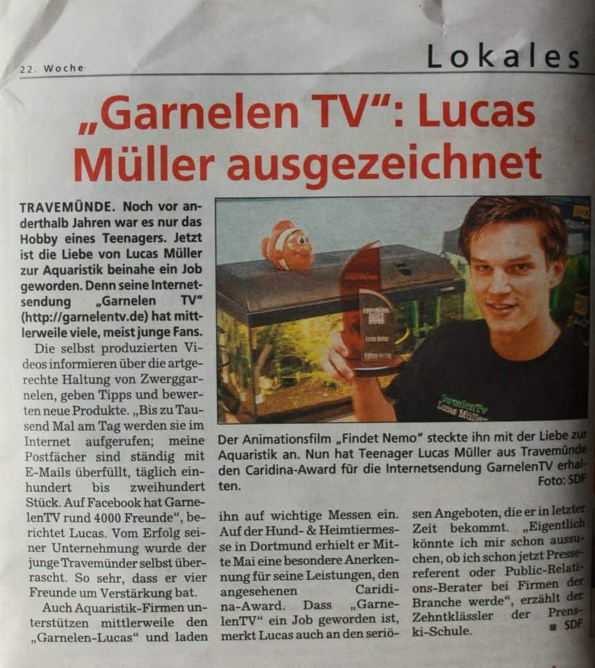 GarnelenTV Lucas Müller ausgezeichnet